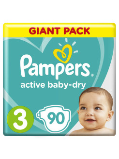 Подгузники Pampers Active Baby Dry 6-10 кг, размер 3, 90 шт Pampers