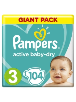 Подгузники Pampers Active Baby Dry 6-10 кг, размер 3, 104 шт Pampers