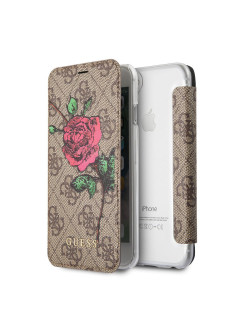 Чехол для iPhone 7/8 Flower desire 4G Booktype PU/roses Brown GUESS