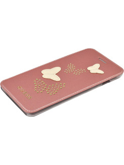 Чехол Guess для iPhone 7+/8+ Studs&Sparkles Booktype PU/Butterflies Rose gold GUESS