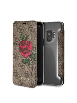 Чехол Guess для Samsung Galaxy S9 Flower desire 4G Booktype PU/roses Brown GUESS