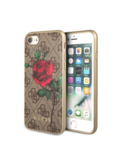 Чехол для iPhone 7/8 Flower desire 4G Hard PU/roses Brown GUESS