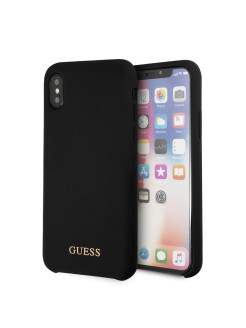 Чехол для iPhone X Silicone collection Gold Logo Black GUESS