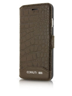 Чехол для iPhone 7/8 Croco Leather Booktype Brown CERRUTI 1881