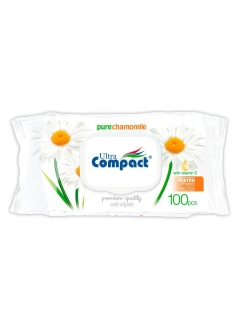 Влажные салфетки WET WIPES MAXIPACK with CLOSURE CHAMOMILLE 100шт. Ultra Compact