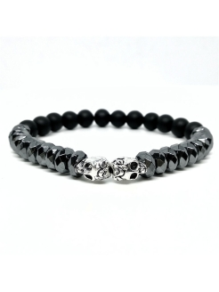 Браслет Skull Silver BW black wood