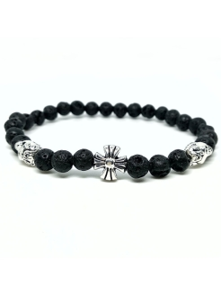 Браслет Chrome hearts and Skull silver BW black wood