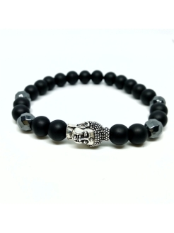 Браслет Buddha silver BW black wood