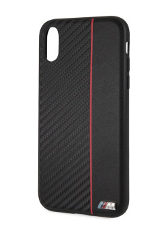 Чехол для iPhone XR Signature Bi-material Hard Carbon PU Red BMW