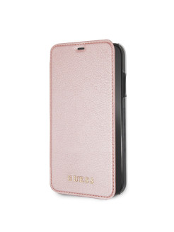 Чехол Guess для iPhone XR Iridescent Booktype Rose gold GUESS