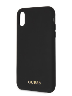 Чехол Guess для iPhone XR Silicone collection Gold logo Hard Black GUESS