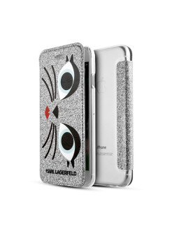 Чехол Lagerfeld для iPhone 7/8 Double layer Glam Choupette Hard Glitter silver Karl Lagerfeld