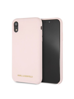 Чехол Lagerfeld для iPhone XR Silicone collection Gold logo Hard Light pink Karl Lagerfeld