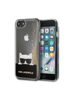 Чехол Lagerfeld для iPhone 7/8 Liquid glitter Choupette with Sunglasses Hard Transp/Gold Karl Lagerfeld