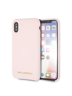 Чехол Lagerfeld для iPhone X/XS Silicone collection Gold logo Hard Light pink Karl Lagerfeld