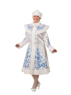 "Carnival costume ""Snow Maiden applique white satin"" Батик"