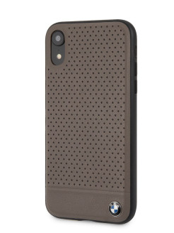 Чехол BMW для iPhone XR Signature Perforated Leather Hard Brown BMW