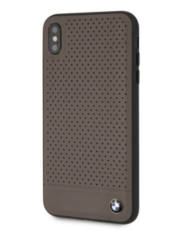 Чехол BMW для iPhone XS Max Signature Perforated Leather Hard Brown BMW