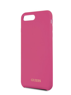 Чехол Guess для iPhone 7 Plus/8 Plus Silicone collection Gold logo Hard Pink GUESS