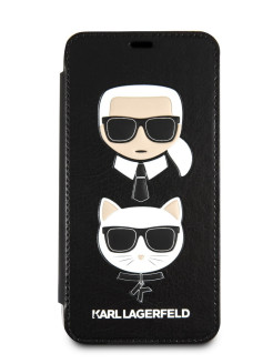Чехол для iPhone X/XS PU Leather Karl and Choupette Booktype Black Karl Lagerfeld