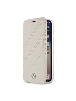 Чехол для iPhone X/XS New Organic I Booktype Leather Crystal grey MERCEDES-BENZ