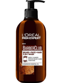 Men Expert Barber Club Очищающий гель 3 в 1 для Бороды + Лица +Волос,с маслом кедрового дерева,200мл L'Oreal Paris
