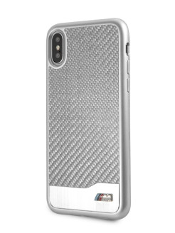 Чехол для iPhone X/XS M-Collection Aluminium/Carbon Hard Silver BMW