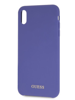 Чехол для iPhone XS Max Silicone collection Gold logo Hard Purple GUESS