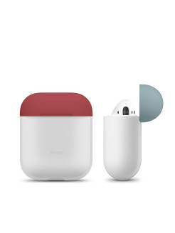 Чехол Elago для AirPods Silicone DUO Nightglow blue с крышками Rose и Coral blue Elago