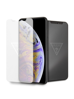 Стекло Guess для iPhone XS Max Tempered glass Silver logo GUESS