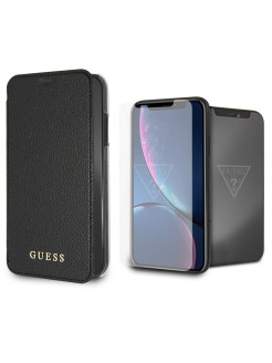 Набор Guess Bundle для iPhone XR Iridescent Booktype Black + стекло Tempered glass Silver logo GUESS