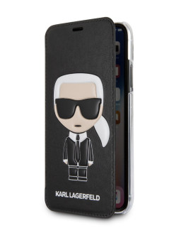 Чехол Lagerfeld для iPhone X/XS PU Leather Iconic Karl Booktype Black Karl Lagerfeld