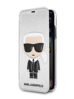Чехол Lagerfeld для iPhone X/XS PU Leather Iconic Karl Booktype Silver Karl Lagerfeld