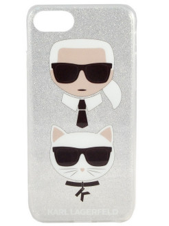 Чехол Lagerfeld для iPhone 7/8 TPU collection Karl and Choupette Hard Silver Karl Lagerfeld