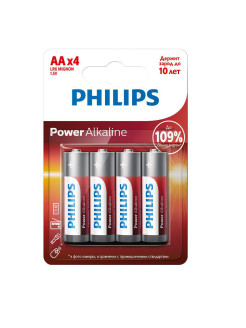 Батарейки Power Alkaline (AA) LR6P4B/51, 4 шт Philips