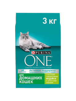 Сухой корм для домашних кошек с индейкой и цельными злаками, 3 кг PURINA ONE