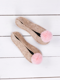 Slippers ballet flats with pompon Valen-ki