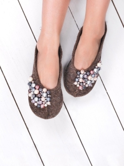 Slippers ballet flats with loose Valen-ki