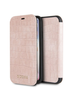 Чехол для iPhone X/XS Croco Booktype PU Light pink GUESS