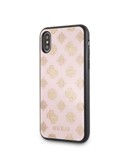 Чехол для iPhone X/XS Double layer 4G Peony Hard Glitter Light pink GUESS