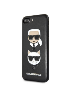 Case for iPhone 7 Plus / 8 Plus PU leather Karl and Choupette Hard Black Karl Lagerfeld