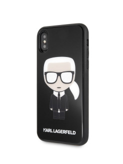 Чехол для iPhone X/XS Double layer Iconic Karl Hard Glitter Black Karl Lagerfeld