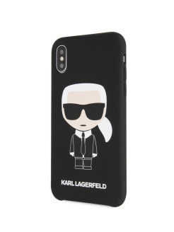 Чехол для iPhone X/XS Liquid silicone Iconic Karl Hard Black Karl Lagerfeld