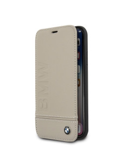 Чехол для iPhone X/XS Signature Logo imprint Booktype Leather Taupe BMW