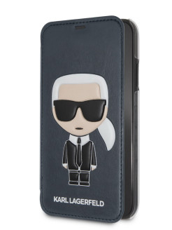 Чехол для iPhone XR PU Leather Iconic Karl Booktype Blue Karl Lagerfeld