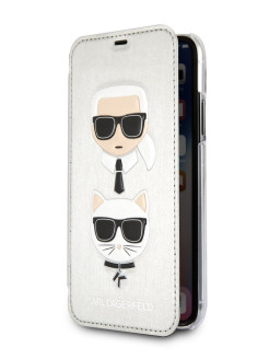Чехол для iPhone X/XS PU Leather Karl and Choupette Booktype Silver Karl Lagerfeld