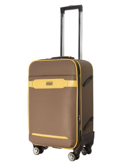 TOUR RETRO eco-leather suitcase with straps, small, S-carry-on bag, 43 l PROFFI