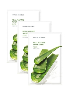 Набор тканевых масок для лица Real Nature Mask Sheet (Aloe ), 3 шт. NATURE REPUBLIC