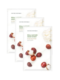 Набор тканевых масок для лица Real Nature Mask Sheet (Shea Butter), 3 шт. NATURE REPUBLIC