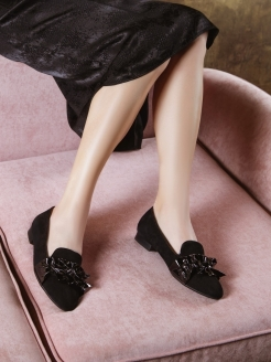 Слиперы BLACK WIND RABBIT LOAFERS